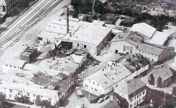 Luftfoto fra 1963 af Sorøegnens Andelssvine Slagteri mellem Holbergsvej og Rådhusvej