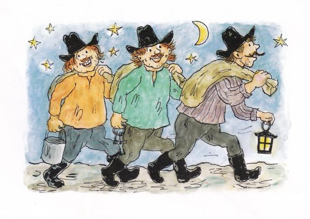 Tegning af de tre Kardemomme-røvere