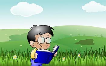 Dreng der læser i en bog.